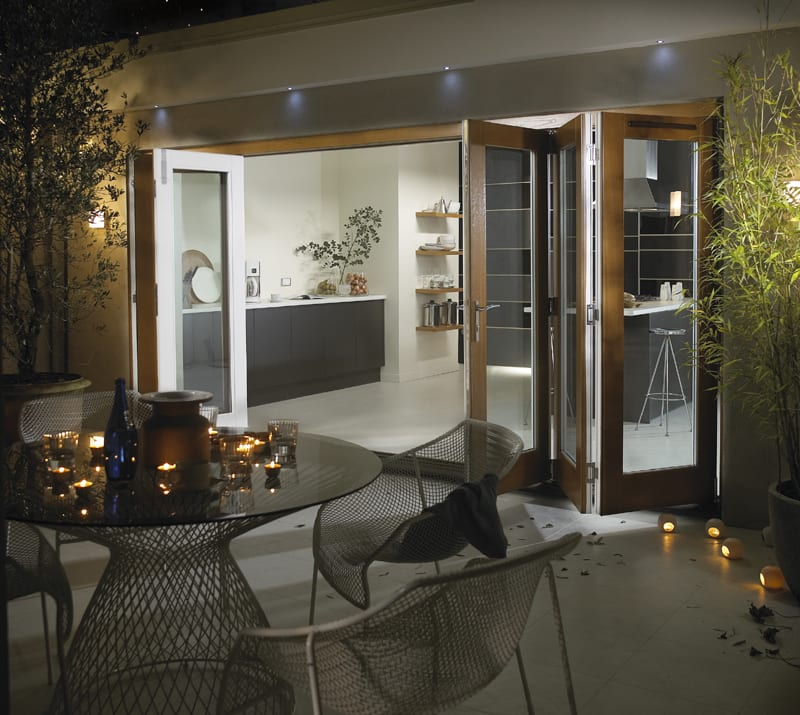Canberra 6 door Premium oak folding sliding patio doors