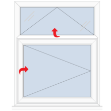 Upvc Casement Window Top Vent over Right Hung Side Opener