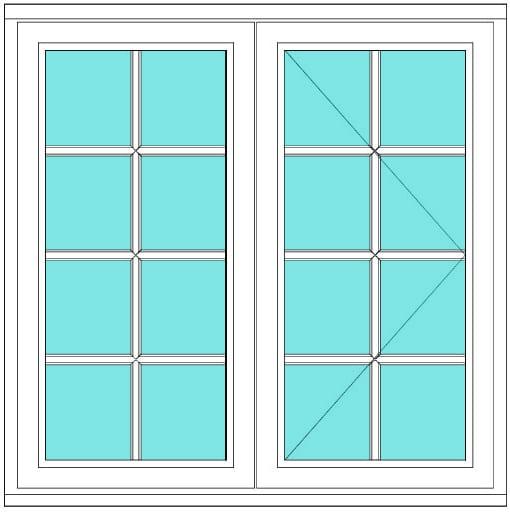 All Bar Casement fixed open 2 x 4 right window