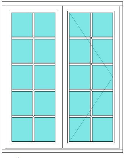 All Bar Casement fixed open 2 x 5 right window