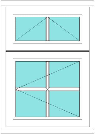 All Bar Transom with vent 2 x 2 window