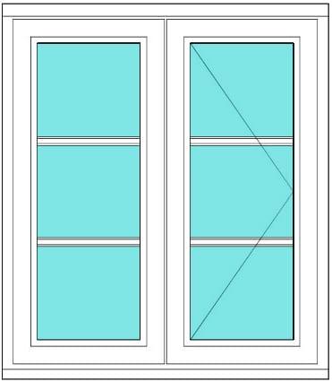 All bar casement narrow fixed open 1 x 3 Right window