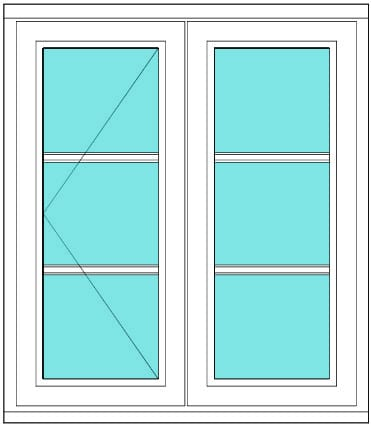 All bar casement narrow open fixed 1 x 3 Left window