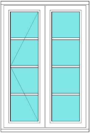 All bar casement narrow open fixed 1 x 4 Left window