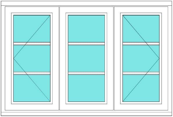 All bar casement narrow open fixed open 1 x 3 window