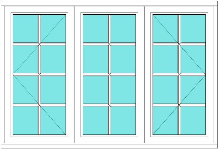 All bar casement open fixed open 2 x 4 window