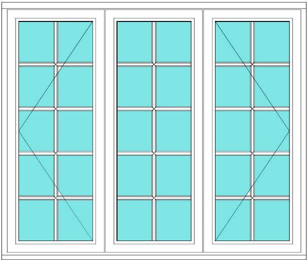 All bar casement open fixed open 2 x 5 window