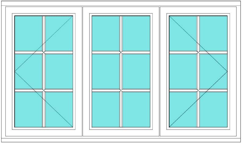 All bar casement open fixed open window