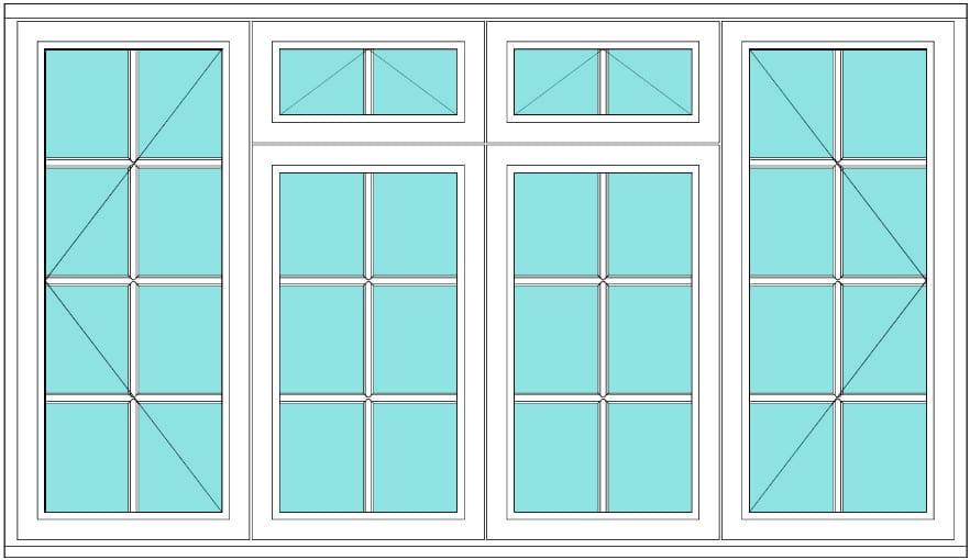 All bar casement open vent vent open 2 x 4 window