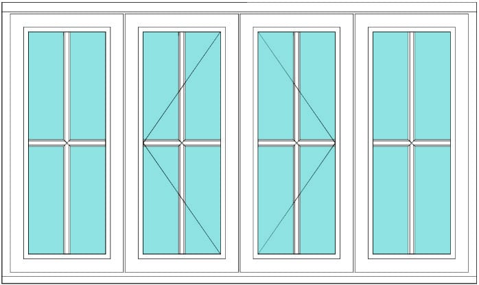 Cottage bar casement fixed open open fixed window