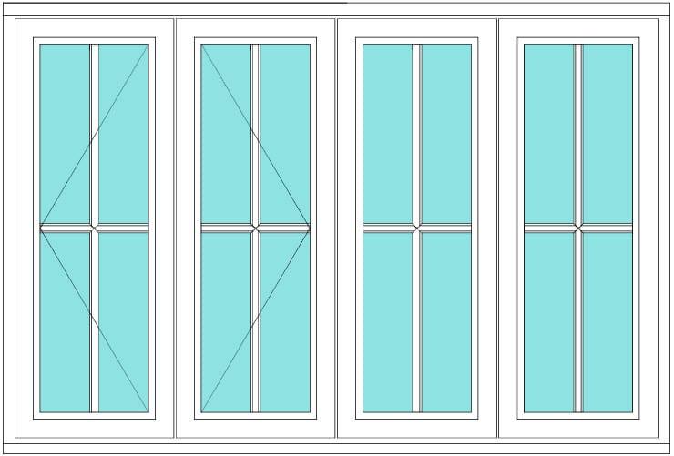 Cottage bar casement open open fixed fixed window