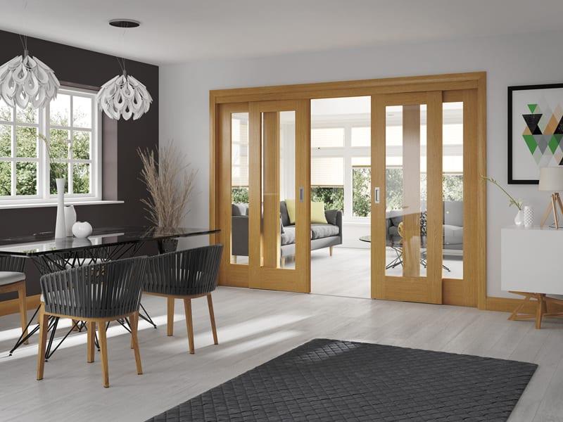 Pattern 10 oak door clear glazing set shot