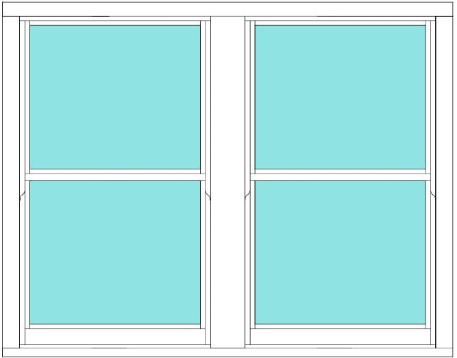 Sliding Sash non bar double window