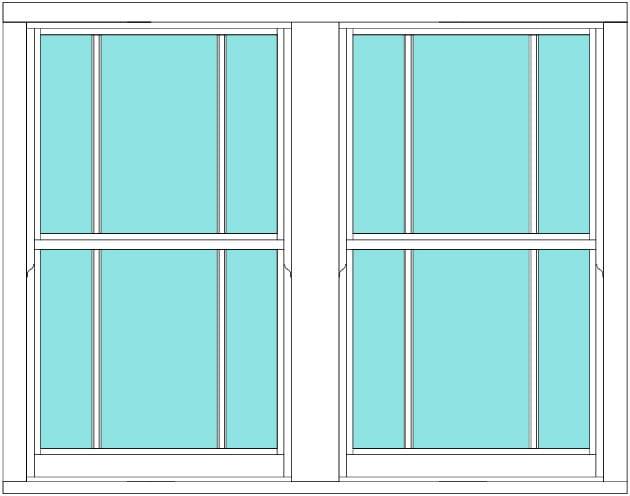 Sliding sash marginal bar double window