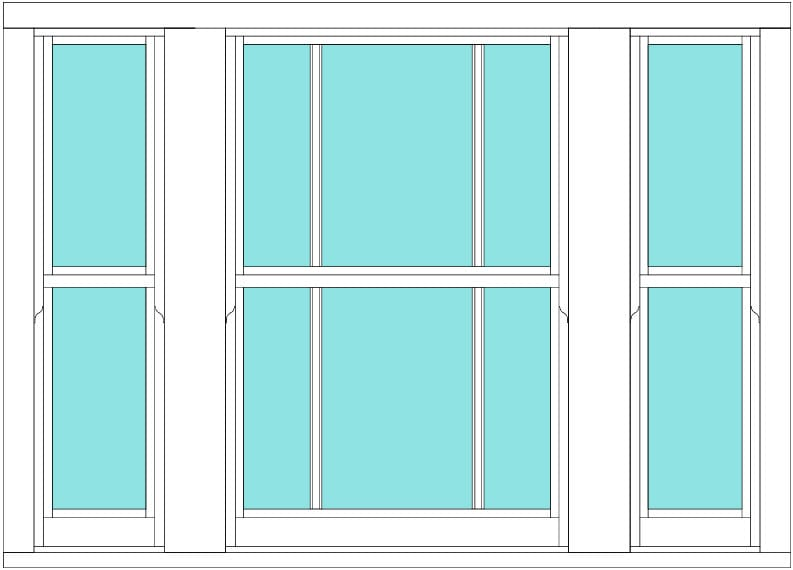 Sliding sash marginal bar triple window