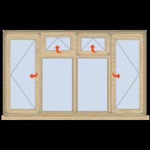 Standard Width Casement Window Open/Vent/Vent/Open 2334mm