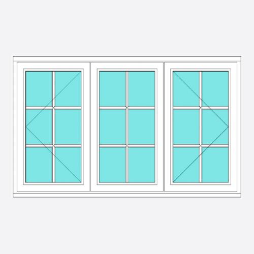Timber All Bar Casement Window Open/Fixed/Open