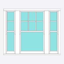 Timber Sliding Sash Victorian Bar 3 Section (centre opening)