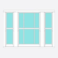Timber Sliding Sash window Marginal bar 3 section (centre opening)