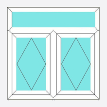 Upvc Fully Reversible Window Double Opening with Top Light