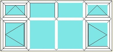 Vent over side opener-fixed over fixed-fixed over fixed-Vent over side hung window