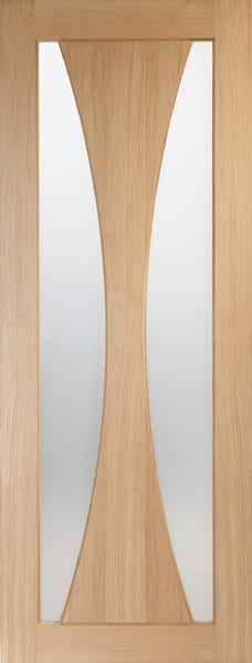 Verona Oak Fire door clear glass
