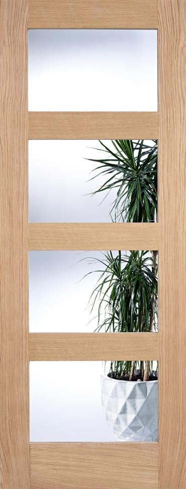 LPD 4L Clear Glazed unfinished oak door