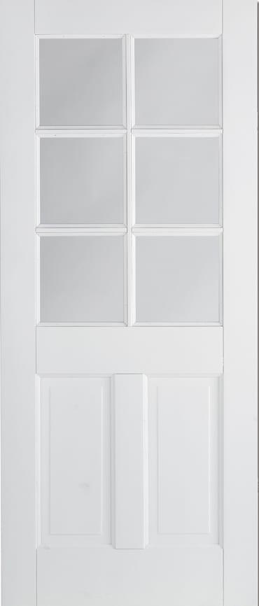 LPD Canterbury 2 panel 6 light white primed door