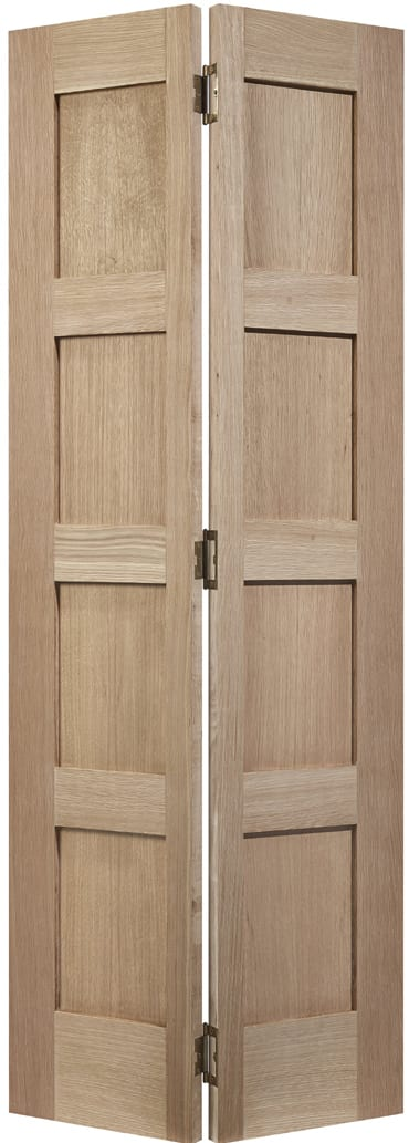 LPD Contemporary 4 Panel Oak Bi-Fold door unfinished