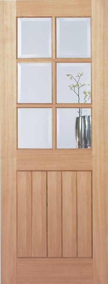 LPD Mexican Oak 6 Light clear glazed door