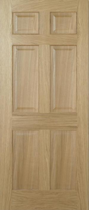 LPD Regency 6 panel equal panel unfinished oak door