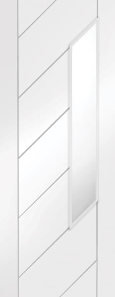 Monza white primed obscure glass door