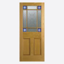 Oak Downham Glazed 9L Un-finished Door