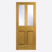 Oak Malton Glazed Screenprint Un-finished Door