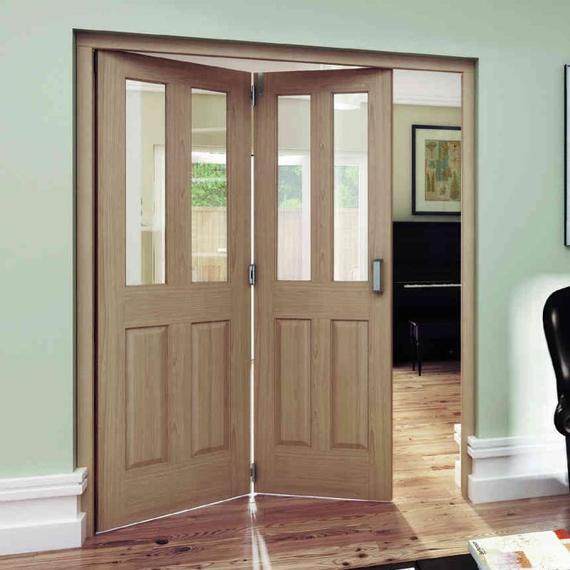 Oregon Oak 2 light clear glazed roomfold doors