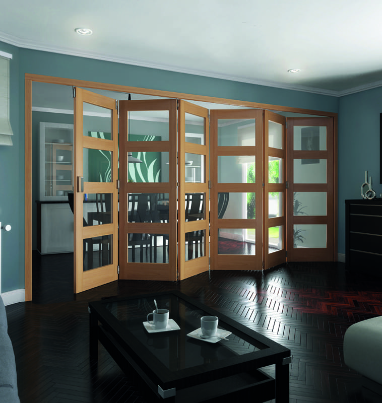 Roomfold 4 Light Clear glazed Oak Shaker Doors