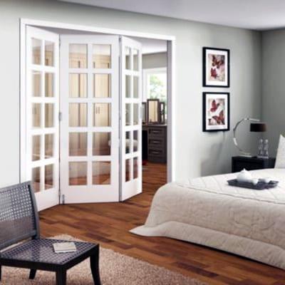 Shaker 10 light clear glazed roomfold doors