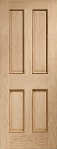 Victorian Oak 4 Panel Fire door with raised mouldings