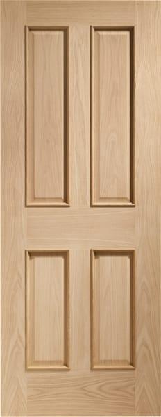 Victorian Oak 4 Panel Fire door with raised mouldings