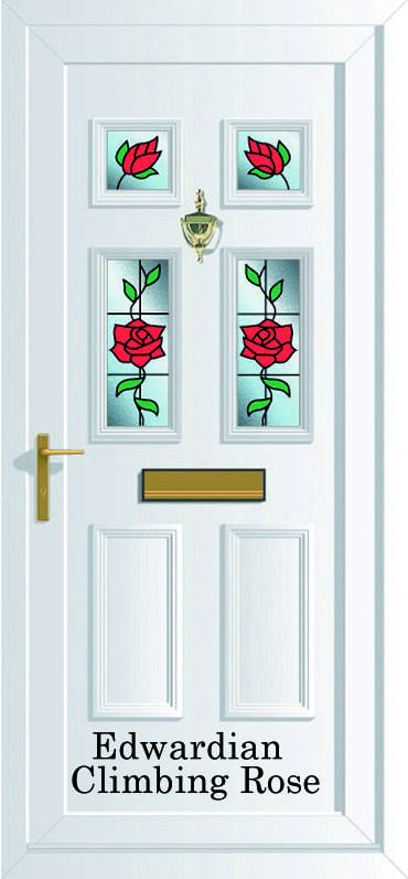 Edwardian 4 Climbing Rose upvc door