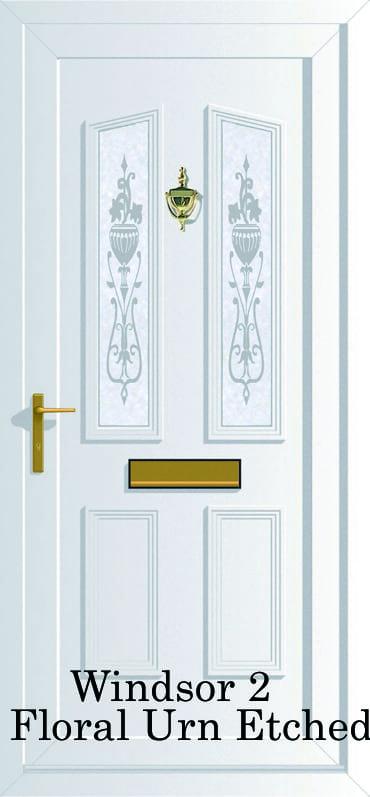Windsor 2 Floral Urn Etched upvc door