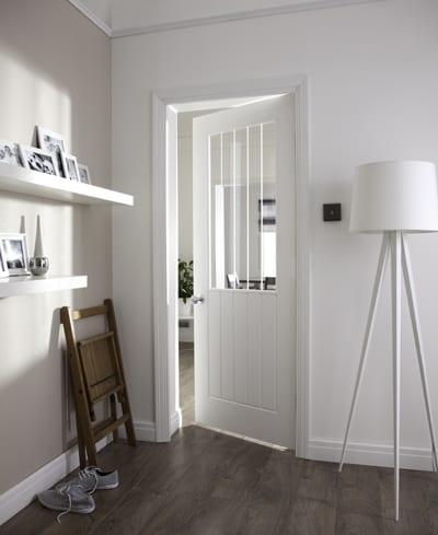 Newark glazed etched door set shot