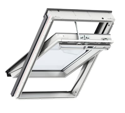White Velux Integra centre pivot electric roof window