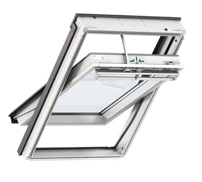 White Velux Integra centre pivot electric roof window