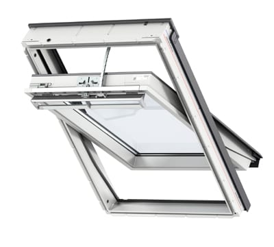 White Velux Integra centre pivot solar powered roof window
