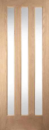 Aston white oak 3 panel clear glazed door