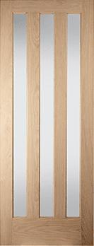 Aston white oak 3 panel obscure glazed door