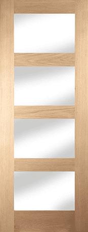 Oak Shaker 4 light clear glazed door
