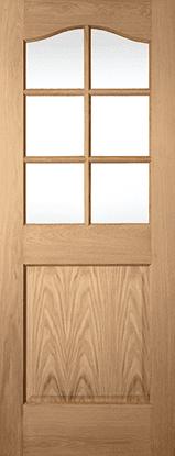 White Oak 1 panel 6 light clear glazed