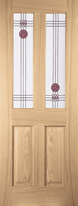 White Oak 2 light Mackintosh flush bead door